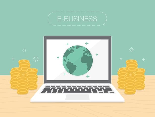 Diseño de fondo de e-business vector gratuito