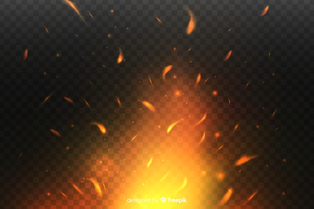 Diseño de fondo de efecto de chispas de fuego vector gratuito