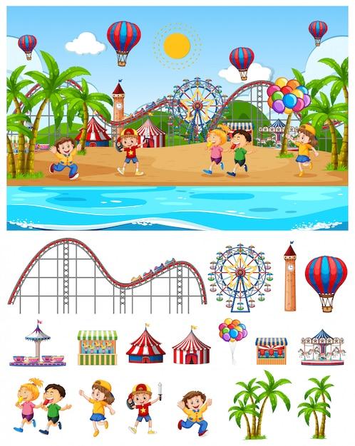 Diseño de fondo de escena con niños en el parque de atracciones junto a la playa vector gratuito