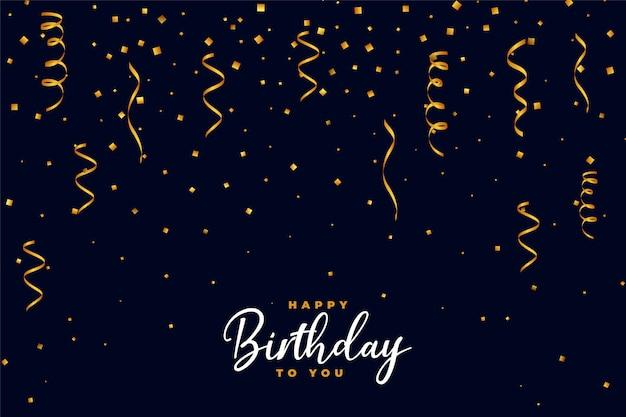 Diseño de fondo de feliz cumpleaños confeti dorado cayendo vector gratuito