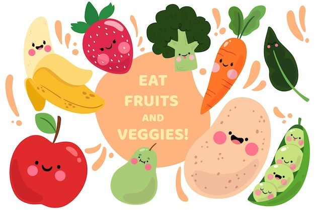 Diseño de fondo de frutas y verduras Vector Premium