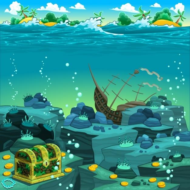Diseño de fondo del mar vector gratuito