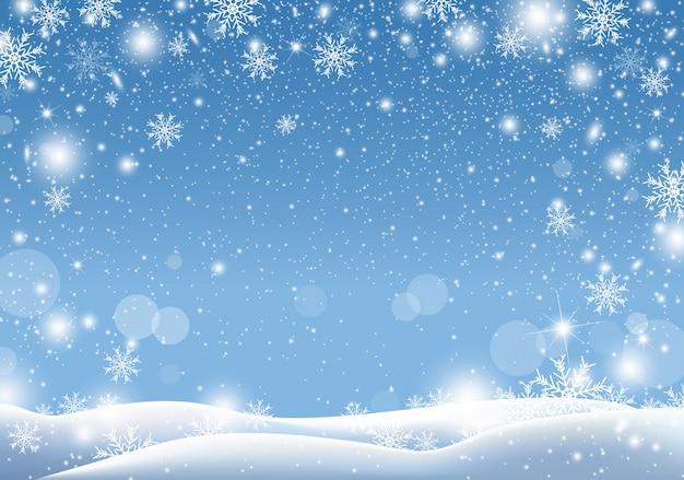 Diseño de fondo de navidad de la nieve cayendo temporada de invierno Vector Premium