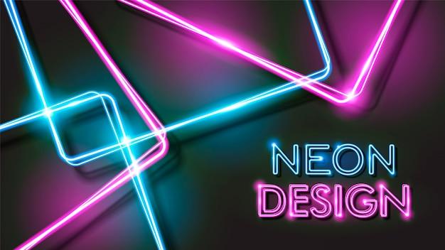 Diseño de fondo negro neón brillante abstracto Vector Premium