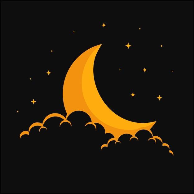 Diseño de fondo de nubes y estrellas de luna de ensueño vector gratuito
