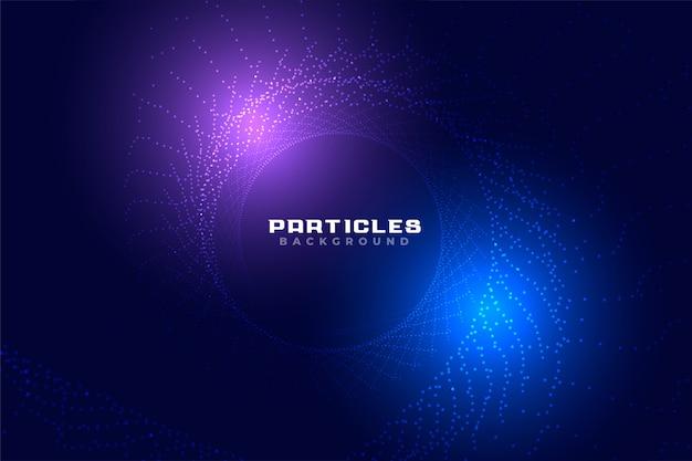Diseño de fondo de partículas de estilo abstracto tecnología brillante vector gratuito