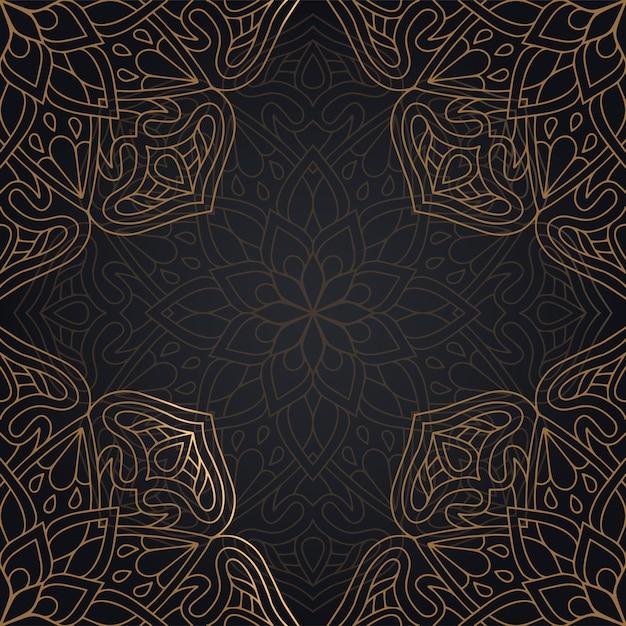 Diseño de fondo de patrones sin fisuras mandala en color negro y dorado vector gratuito