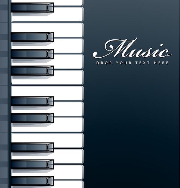 Diseño de fondo de piano vector gratuito