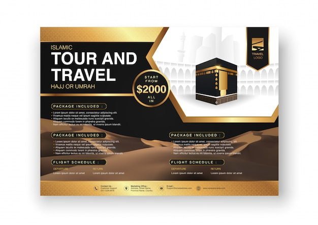 Diseño de fondo de plantilla de folleto o folleto de ramadán islámico hajj y umrah con manos de oración y la meca ilustración en diseño realista 3d. Vector Premium