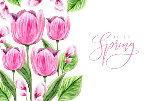 Diseño de fondo de primavera acuarela vector gratuito