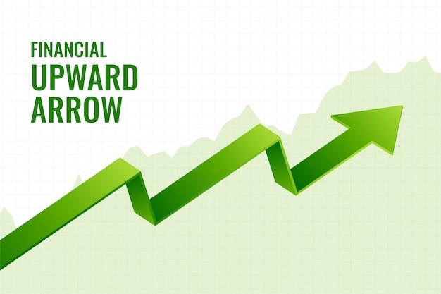 Diseño de fondo de tendencia de flecha ascendente de crecimiento de inclinación financiera vector gratuito