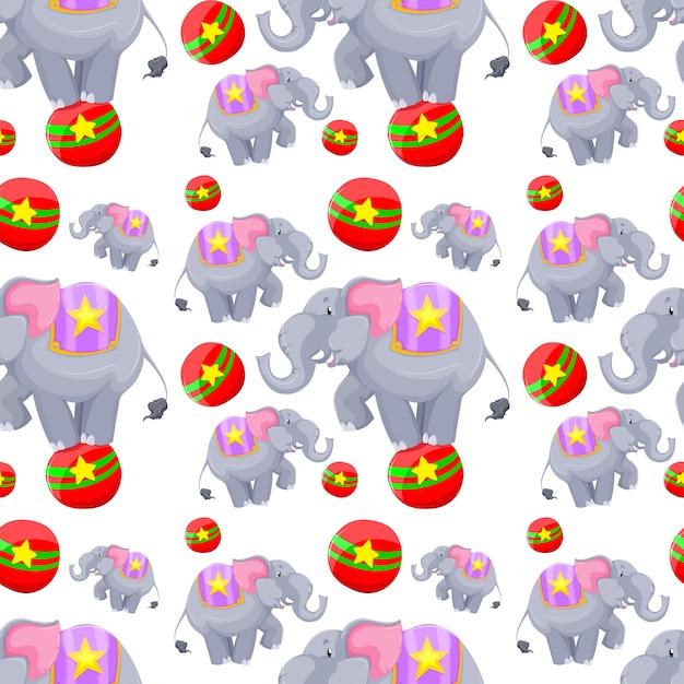 Diseño de fondo transparente con elefantes en bolas vector gratuito