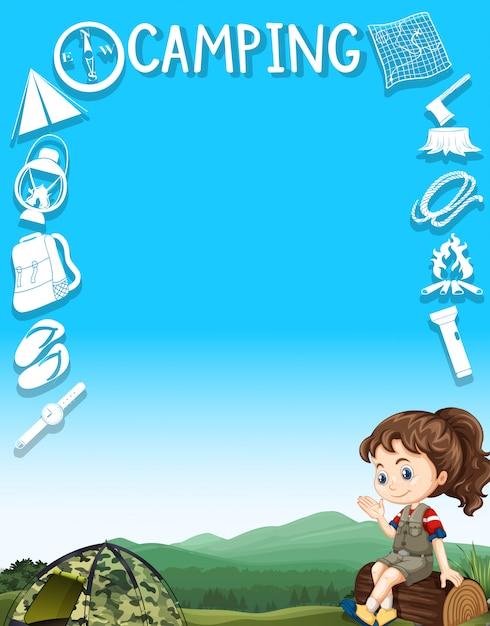 Diseño de la frontera con engranajes de camping y chica vector gratuito