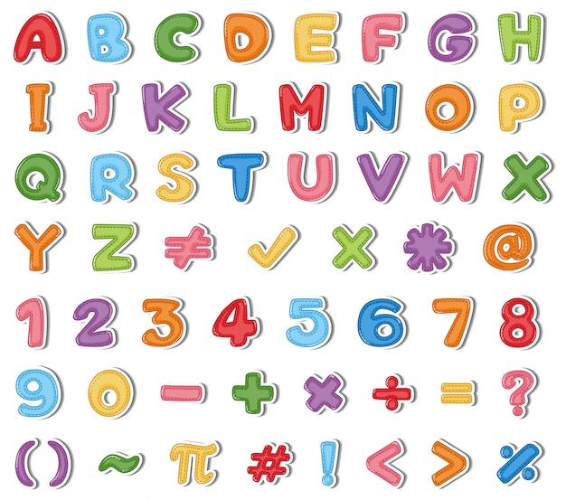 Diseño de fuente para alfabetos ingleses y números en varios colores ...