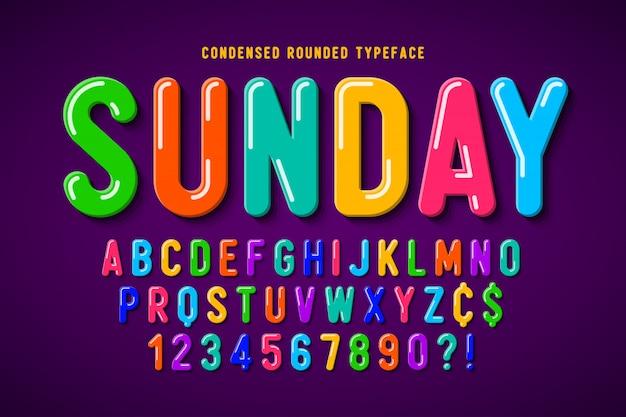 Diseño de fuente cómica de burbuja plana, alfabeto colorido Vector Premium