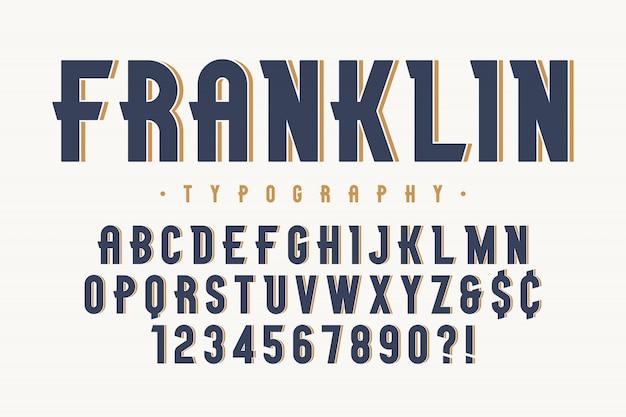 Diseño de fuente de exhibición vintage de moda de franklin Vector Premium