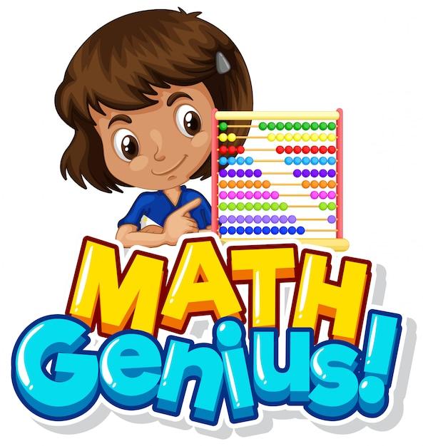 Diseño de fuente para genio de las matemáticas con niña y cuentas de conteo vector gratuito