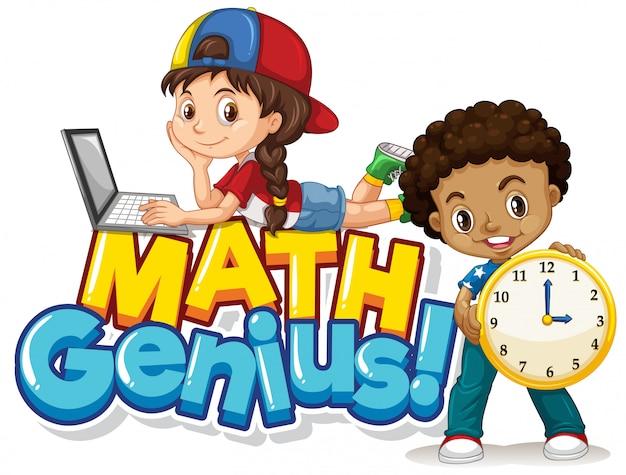 Diseño de fuente para genio matemático de palabras con dos estudiantes vector gratuito