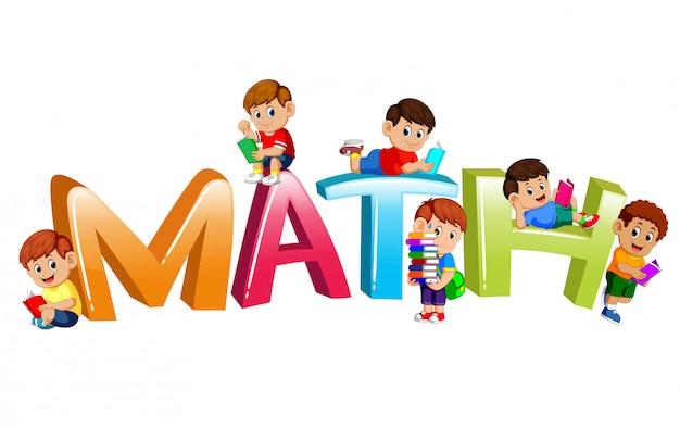 Diseño de fuente para matemáticas de la palabra con niños leyendo libro Vector Premium
