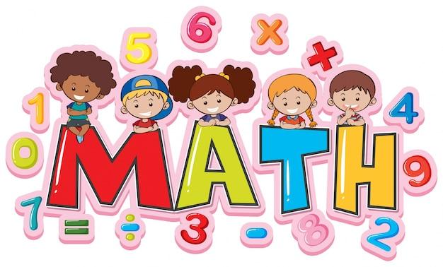 Diseño de fuente para matemáticas de palabras con niños felices ...