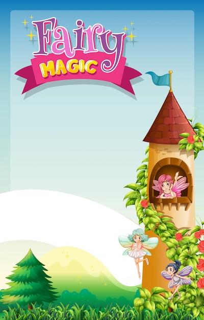 Diseño de fuente para la palabra magia de hadas con hadas volando en la torre vector gratuito