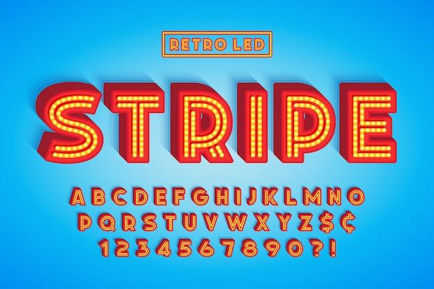 Diseño de fuente de rayas led retro, letras y números. Vector Premium
