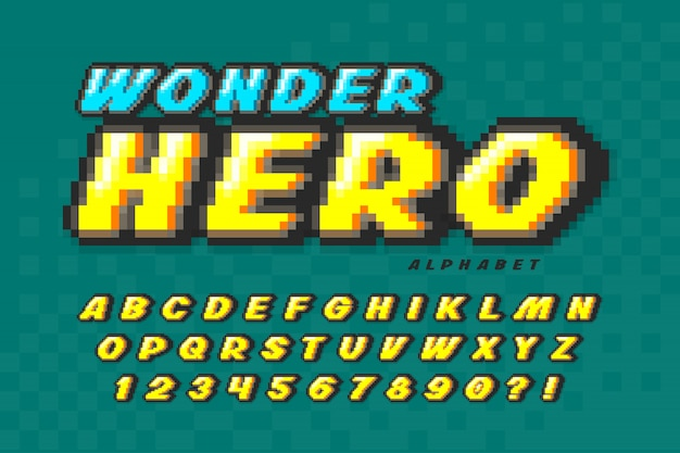 Diseño de fuente de vector de píxeles, alfabeto de estilo superhéroe. Vector Premium