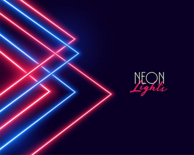Diseño geométrico del fondo de las luces de neón rojas y azules vector gratuito