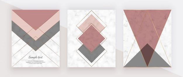 Diseño geométrico de mármol con líneas poligonales doradas triangulares de color rosa y gris. Vector Premium