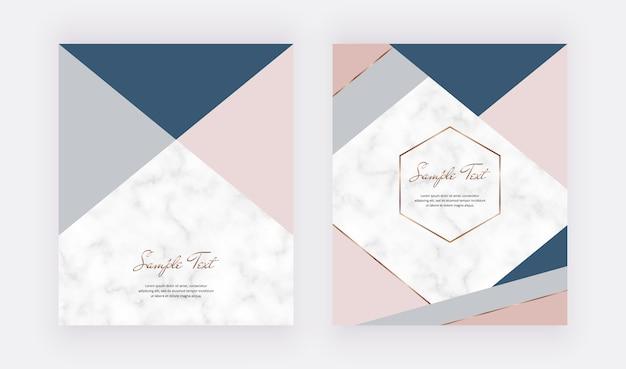 Diseño geométrico de moda con formas de triángulos de color rosa pastel, azul gris y líneas doradas. Vector Premium
