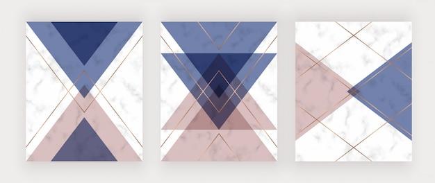 Diseño geométrico con triángulos rosas, azules y dorados en la textura de mármol. Vector Premium
