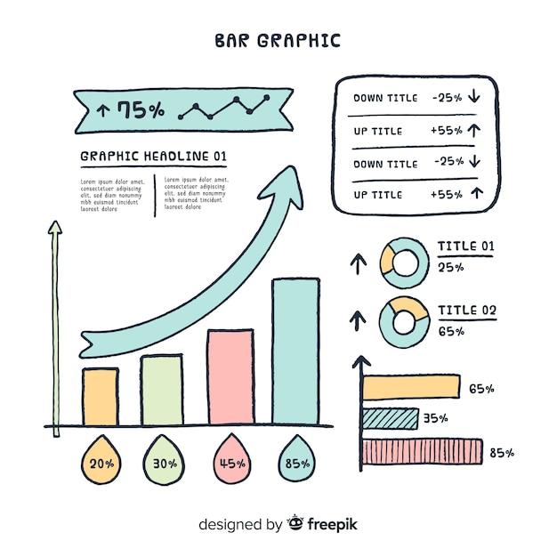 Diseño de gráfico de barras vector gratuito