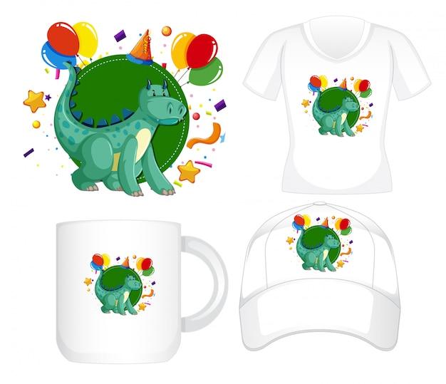 Diseño gráfico en diferentes productos con dragon verde vector gratuito