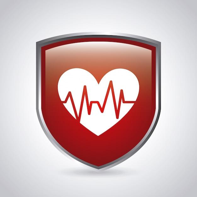 Diseño gráfico de escudo médico vector gratuito