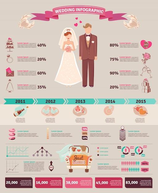 Diseño de gráfico de estadísticas de la boda de la boda vector gratuito