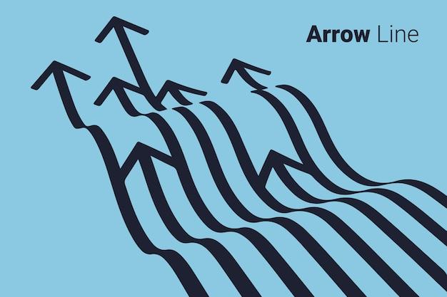 Diseño gráfico de la línea de flecha. Vector Premium