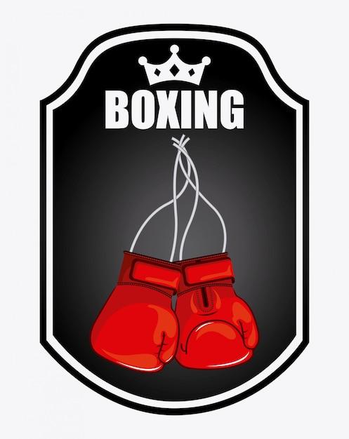 Diseño gráfico del logotipo del emblema de boxeo vector gratuito