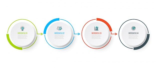 Diseño de gráfico vectorial infografía con 4 opciones, paso o peocess. concepto de negocio con iconos de marketing. Vector Premium