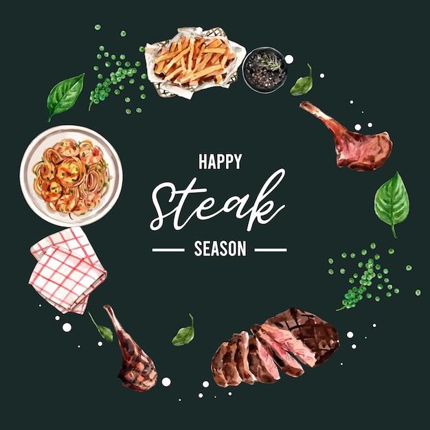 Diseño de guirnalda de filete con carne a la parrilla, ilustración acuarela servilleta vector gratuito