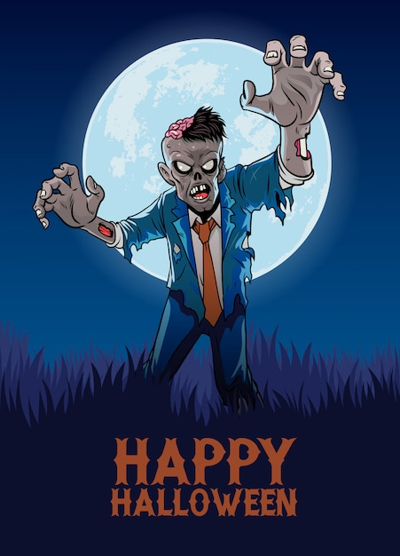 Diseño de halloween con zombie en estilo de dibujos animados Vector Premium