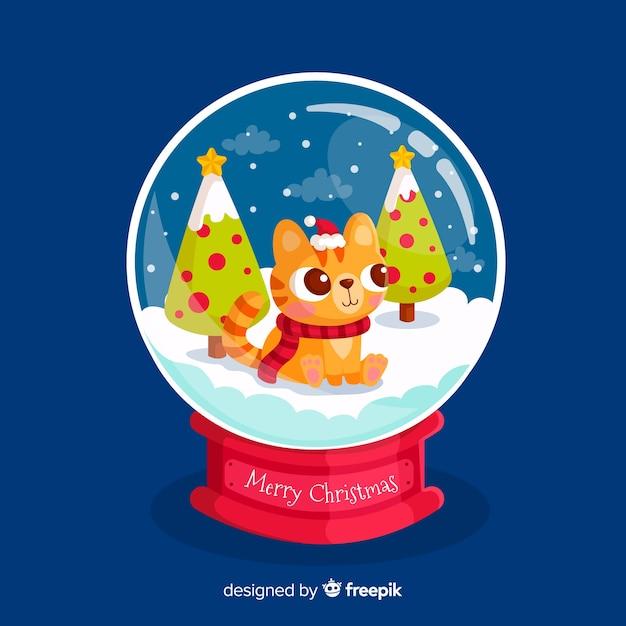 Diseño de hermosa bola de nieve de navidad vector gratuito