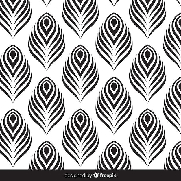 Diseño hermoso de patrón de plumas de pavo real Vector Premium