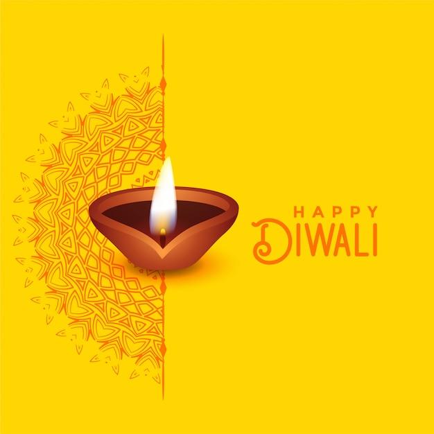 Diseño hermoso de la tarjeta de felicitación de diwali con arte del mandala y diya vector gratuito