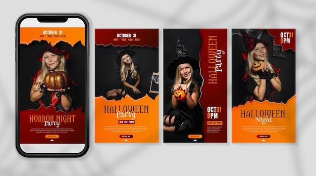Diseño de historias de instagram del festival de halloween vector gratuito