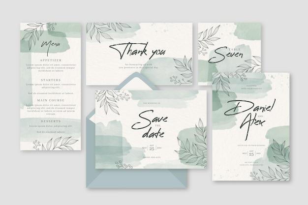 Diseño de hojas en invitación de papelería de boda. vector gratuito