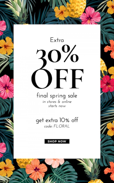 Diseño con hojas de palmera exóticas, flores de hibisco, piñas y espacio para texto. plantilla de oferta de venta. Vector Premium