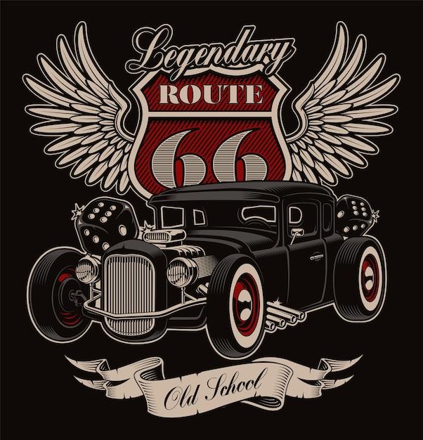 Diseño de hot rod americano vintage sobre fondo oscuro. diseño de camiseta en estilo rockabilly. Vector Premium