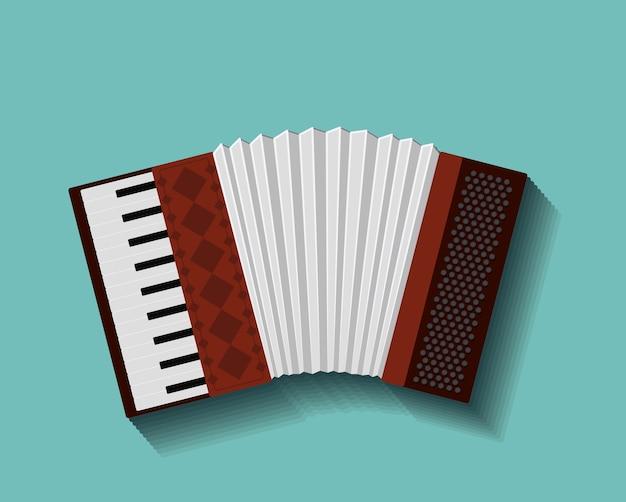 Diseño de icono aislado de instrumento de acordeón Vector Premium