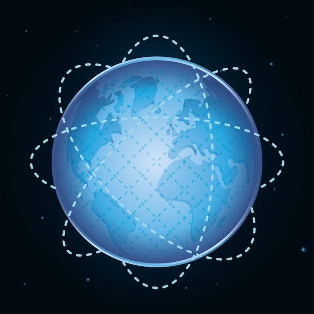 Diseño de icono de planeta Vector Premium