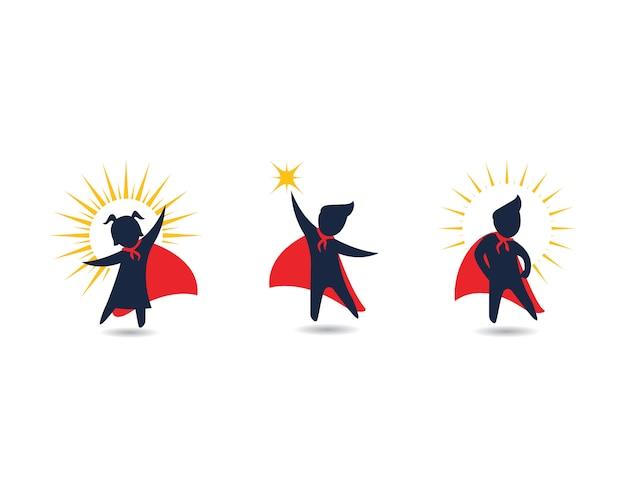 Diseño de iconos de super concepto de niños Vector Premium